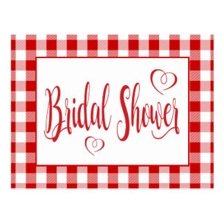 Country Gingham Bridal Shower Red And White Checks Postcard