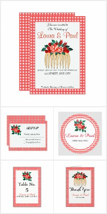 Country Gingham & Floral Wedding Suite