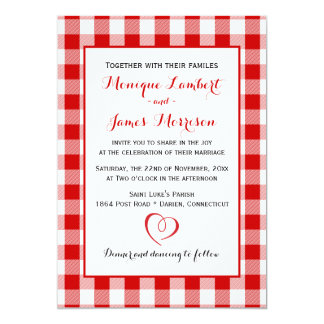 Country Gingham Red & White Checks Wedding Plaid Card