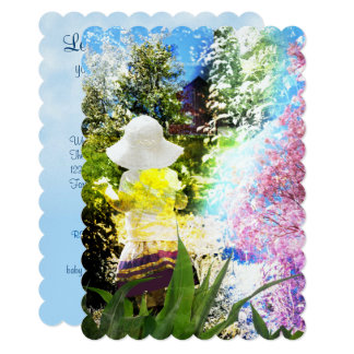 Country Girl Collage Pink Flower Cottage Style Card