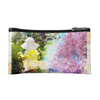 Country Girl Collage Pink Flower Cottage Style Makeup Bag