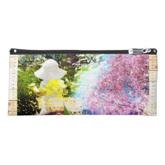 Country Girl Collage Pink Flower Cottage Style Pencil Case