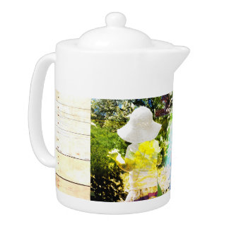 Country Girl Collage Pink Flower Cottage Style Teapot