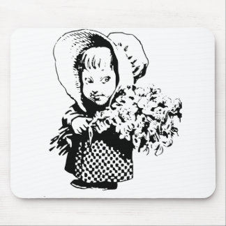 Country Girl holds Flowers Mouse Pad