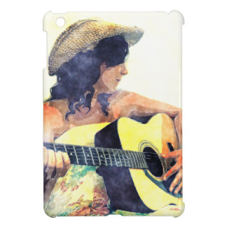 Country Girl in Sundress with Guitar Case For The iPad Mini