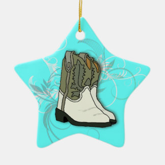 Country Girl Rodeo Cowgirl Boots Ceramic Ornament