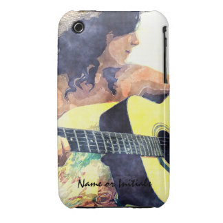 Country Girl with Acoustic Guitar Water Color iPhone 3 Case