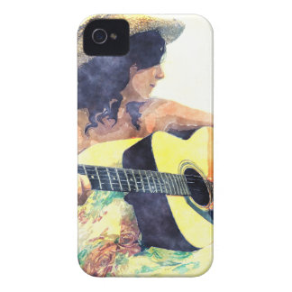 Country Girl with Acoustic Guitar Water Color iPhone 4 Case-Mate Case