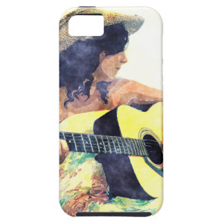 Country Girl with Acoustic Guitar Water Color iPhone SE/5/5s Case