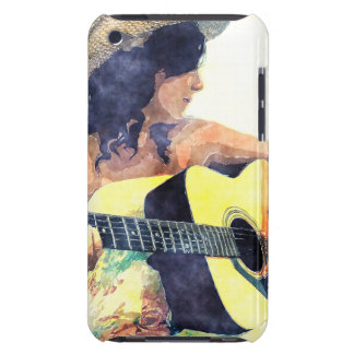 Country Girl with Acoustic Guitar Water Color iPod Touch Case