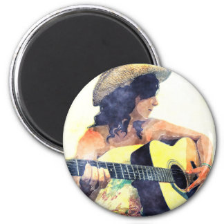 Country Girl with Acoustic Guitar Water Color Magnet