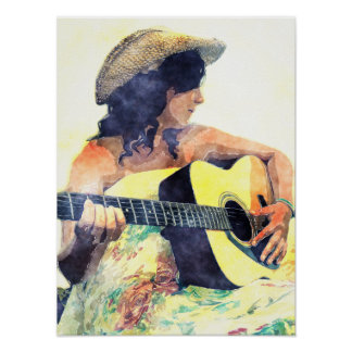 Country Girl with Acoustic Guitar Water Color Poster
