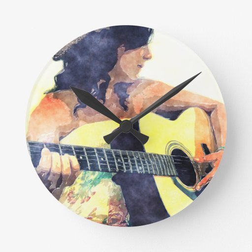 Country Girl with Acoustic Guitar Water Color Round Clocks