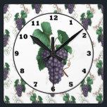 """Country Grapes kitchen wall clock<br><div class=""""desc"""">design by originalartwork@delightful-doodles.com</div>"""