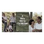 Country Gray Barn Two Photo Christmas Card