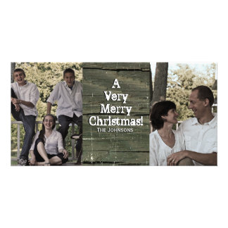 Country Gray Barn Two Photo Christmas Card Photo Card