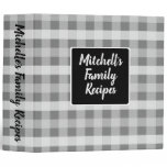Country Gray Plaid 3 Ring Binder