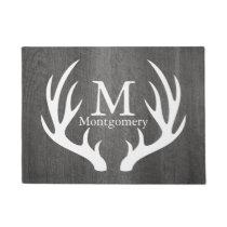Country Gray Wood White Deer Antlers Family Name Doormat