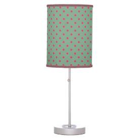 Country Green/Fuchsia Polka Dot Desk Lamp