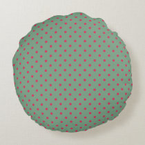 Country Green/Fuchsia Polka Dot Round Pillow