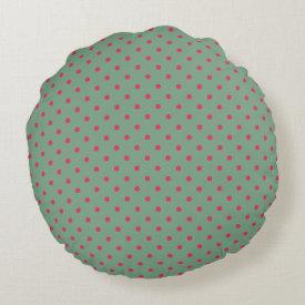 Country Green/Fuchsia Polka Dot Round Pillow