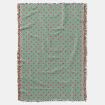Country Green/Fuchsia Polka Dot Throw Blanket