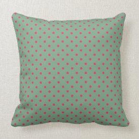 Country Green/Fuchsia Polka Dot Throw Pillow