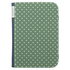 Country Green/Light Cream Polka dot pattern Kindle Folio Case
