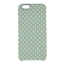 Country Green/Light Cream Polka Dots pattern Clear iPhone 6/6S Case