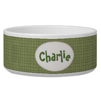 Country Green Plaid Personalized Pet Bowl
