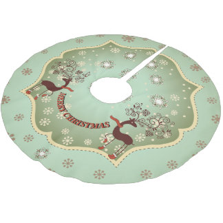 Country Green Whimsical Reindeer Brushed Polyester Tree Skirt