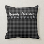 """Country grey and black plaid snow flake -  Holiday Throw Pillow<br><div class=""""desc"""">country rustic grey and black plaid - happy holiday</div>"""
