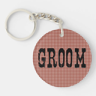 Country Groom Black on Red Gingham Keychain