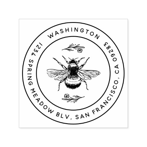 Country Hand_drawn Bumblebee Round Return Address Self_inking Stamp