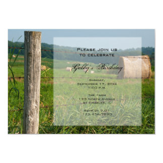 Country Hay Bales Birthday Party Invitation