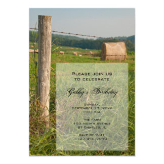 Country Hay Bales Birthday Party Invitation