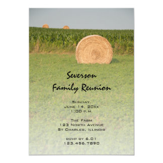 """Country Hay Bales Family Reunion 5"""" X 7"""" Invitation Card"""