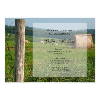 Country Hay Bales Farm Birthday Party Invitation