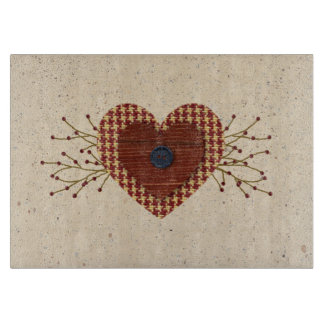 Country Heart Glass Cutting Board