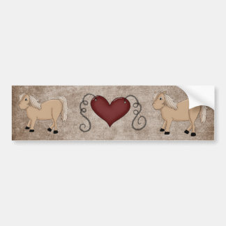 Country Heart Love Horses Fun Bumper Sticker