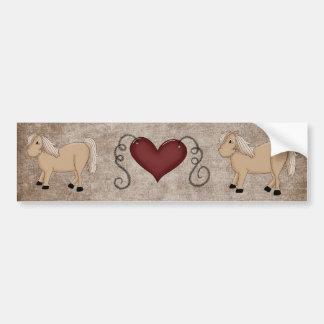 Country Heart Love Horses Fun Bumper Sticker