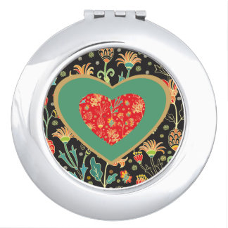 Country Heart Round Compact Mirror
