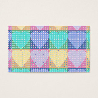 Country hearts patchwork quilt blocks with spots business card