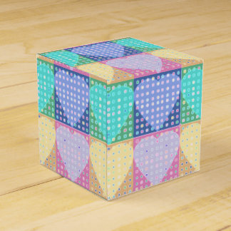 Country hearts patchwork quilt blocks with spots favor box
