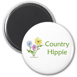 Country Hippie 2 Inch Round Magnet