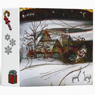 country home Christmas edit 3 Ring Binder