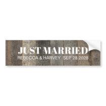 country honeymoon barn wedding just married bumper sticker