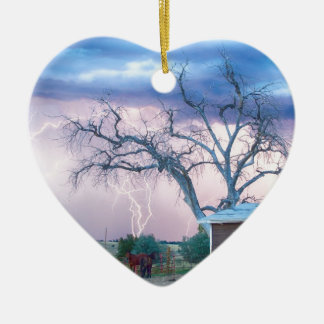 Country Horses Riders On The Storm Double-Sided Heart Ceramic Christmas Ornament