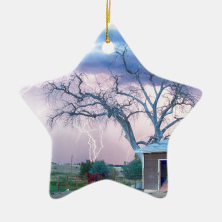 Country Horses Riders On The Storm Double-Sided Star Ceramic Christmas Ornament
