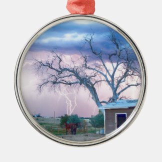 Country Horses Riders On The Storm Round Metal Christmas Ornament